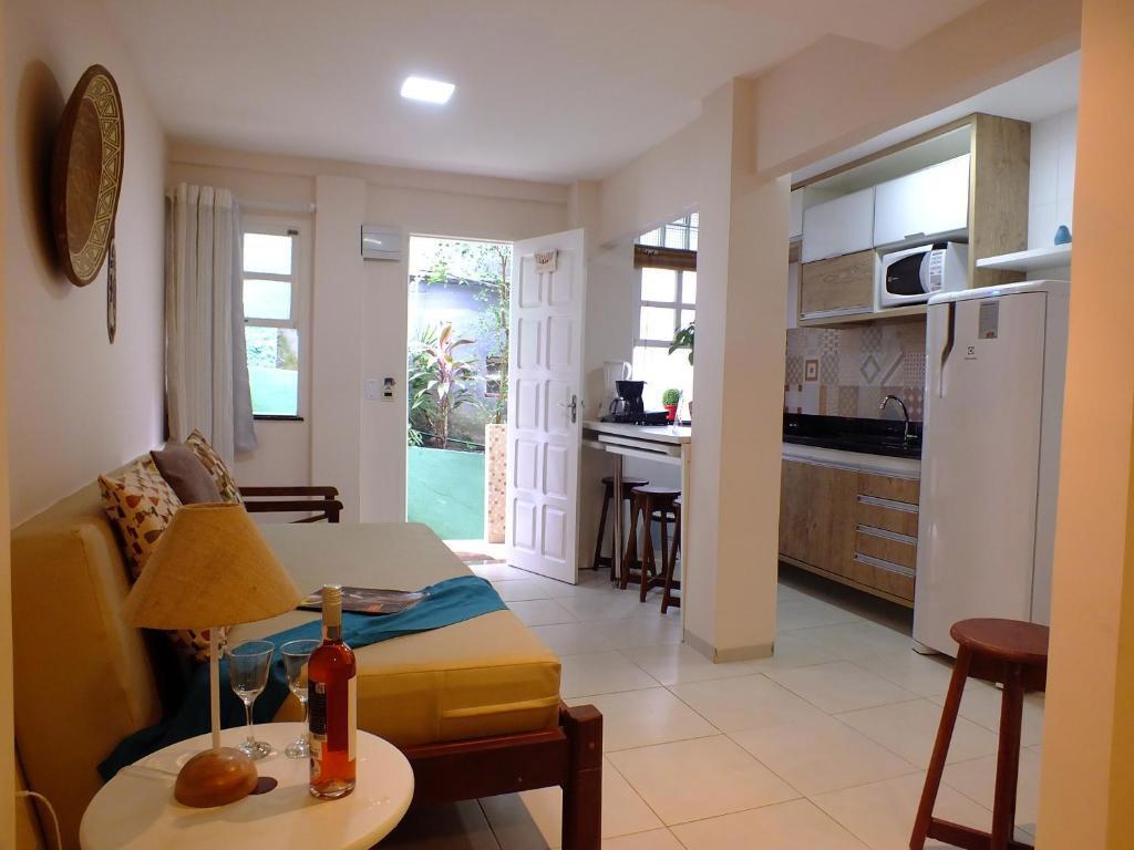 sala cozinha flat casinhas do morro de sao paulo