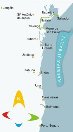 Mapa como chegar em Morro de São Paulo via terrestre