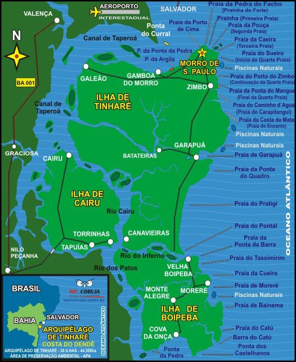 Mapa do Arquipélago Tinharé na bahia