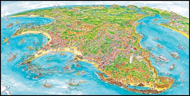 Mapa de Morro de São Paulo no arquipélago de Tinharé