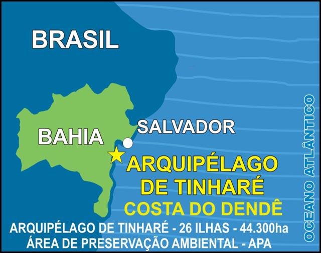 Mapa de Localização da Ilha morro de São Paulo no Brasil