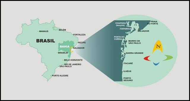 Maps of Morro de Sao Paulo