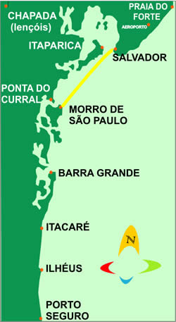 Map of boat shuttle from Salvador to Morro de São paulo