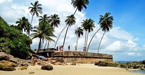 Pequeña playa en el fuerte de Morro de San Pablo